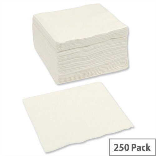 Paper Napkins Square 2-ply Tissue 400x400mm White Pack 250