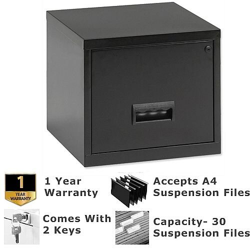 Pierre Henry A4 1 Drawer Steel Filing Cabinet Lockable Black