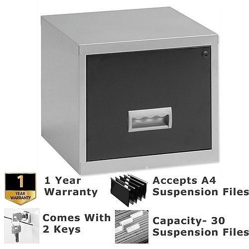 Pierre Henry A4 1 Drawer Steel Filing Cabinet Lockable Silver/Black