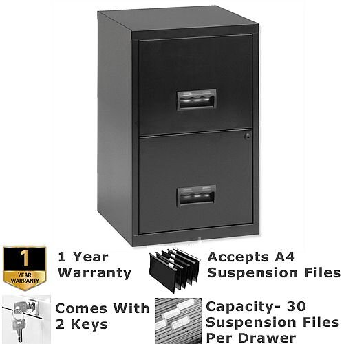 Pierre Henry A4 2 Drawer Steel Filing Cabinet Lockable Black
