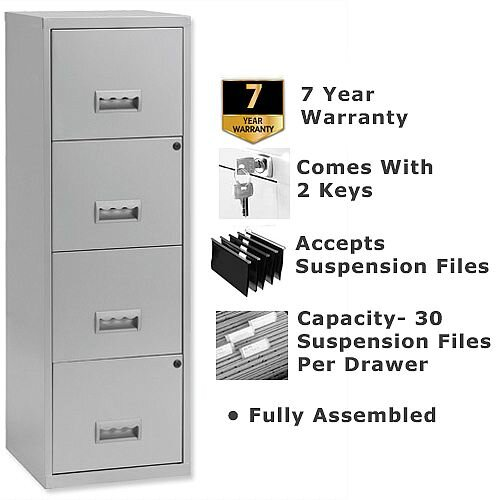 Pierre Henry A4 4 Drawer Steel Filing Cabinet Lockable Silver