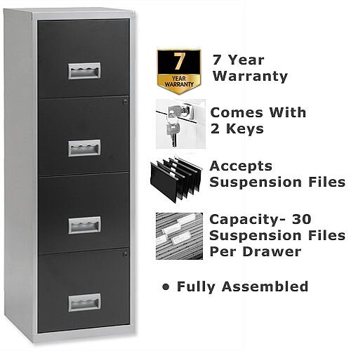 Pierre Henry A4 4 Drawer Steel Filing Cabinet Lockable Silver/Black
