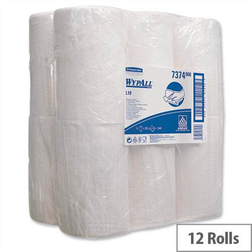 Kimberly-Clark Wypall L10 Centrefeed Tissues Refill Paper Rolls Wiper 7122 250 Sheets 205 x 380mm Pack 12