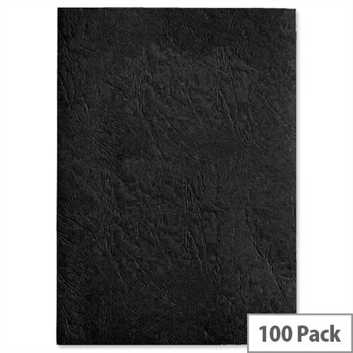 GBC Antelope Binding Covers Leather-look Plain A4 Black Pack 100