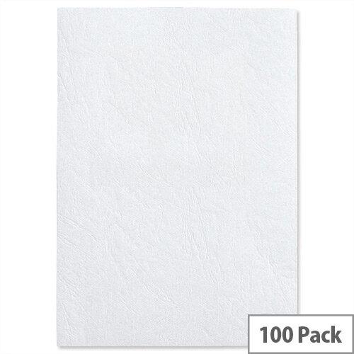 GBC LeatherGrain Binding Covers Plain A4 White Pack 100