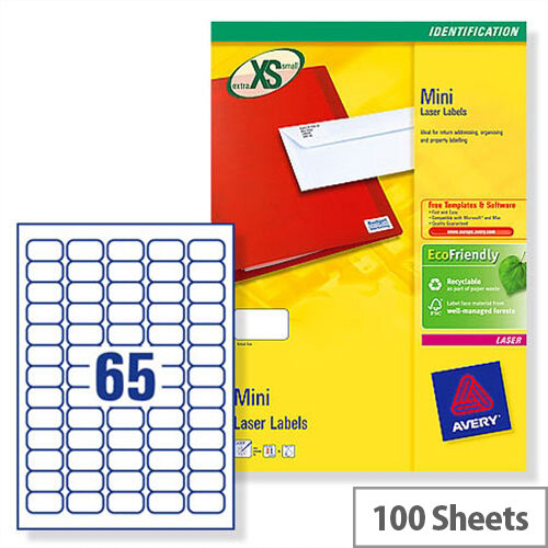 Avery L7651 100 Mini Labels Laser 65 Per Sheet 381x212mm White