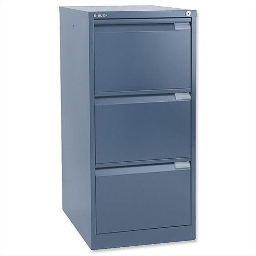 3 Drawer Steel Filing Cabinet Flush Front Blue Bisley BS3E