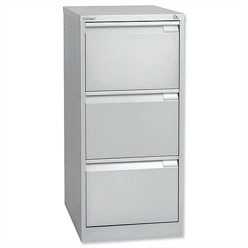 3 Drawer Steel Filing Cabinet Flush Front Silver Bisley BS3E