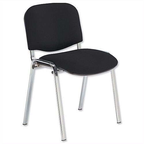 Tobago Stacking Chair Brown Chrome: Fabric Upholstered Stacking Chair With Chrome Legs Black