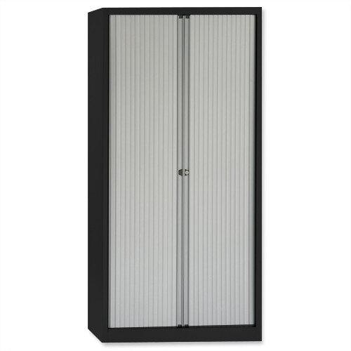 Bisley A4 Euro Tambour 4 Shelves Black Frame Silver Shutters ET410/19/4S.SL AV1