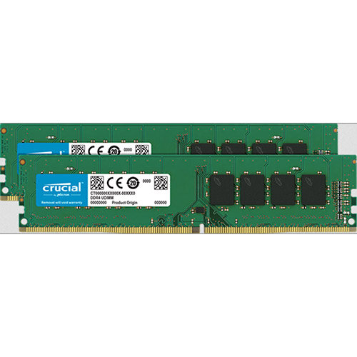 Crucial - DDR4 - 16 GB: 2 x 8 GB - DIMM 288-pin - 2666 MHz / PC4-21300 - CL19 - 1.2 V - unbuffered - non-ECC