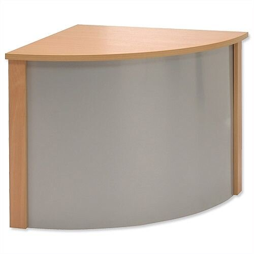 Reception Corner Desk W800xD300xH370mm Silver and Beech Ashford