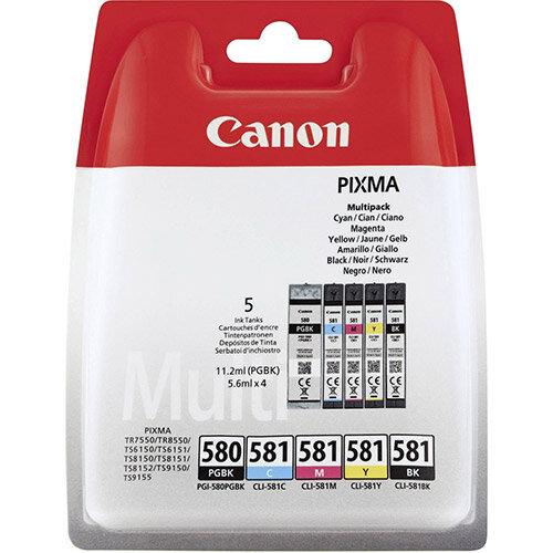 Canon PGI-580 PGBK/CLI-581 CMYBK Multipack - 5-pack - black, yellow, cyan, magenta - original - blister - ink tank - for PIXMA TR7550, TR8550, TS6150, TS6151, TS8150, TS8151, TS8152, TS9150, TS9155