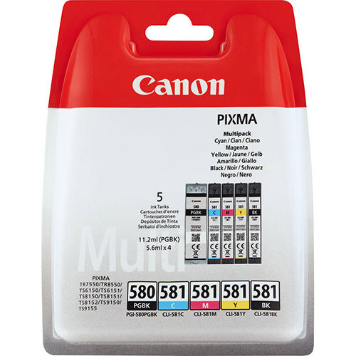 Canon PGI-580 PGBK/CLI-581 CMYBK Multipack - 5-pack - black, yellow, cyan, magenta - original - blister with security - ink tank - for PIXMA TR7550, TR8550, TS6150, TS6151, TS8150, TS8151, TS8152, TS9150, TS9155
