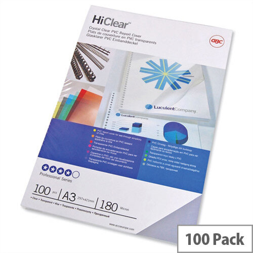 GBC HiClear A3 Report Covers 180 micron PVC Clear Pack 50x2