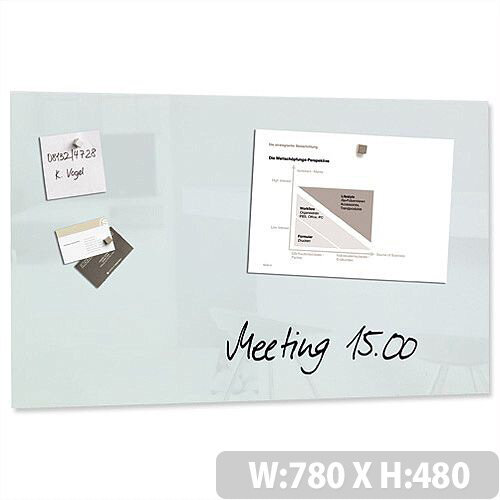 Sigel Artverum High Quality Tempered Glass Magnetic Board With Fixings 780x480 mm White Ref GL131