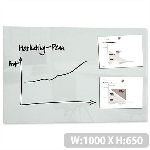 Sigel Artverum High Quality Tempered Glass Magnetic Whiteboard With Fixings 1000x650mm White Ref GL141