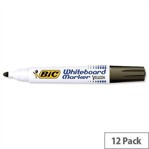 Bic Velleda 1701 Black Drywipe Marker Bullet Tip Pack 12