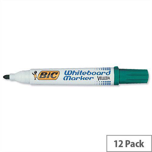Bic Velleda 1701 Green Drywipe Marker Bullet Tip Pack 12