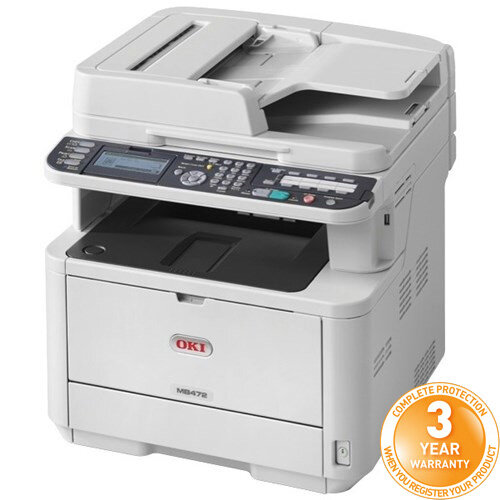 OKI MB472dnw Mono Multifunction Laser Printer A4 Duplex Network Fax Wireless