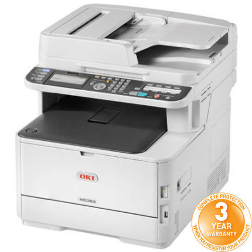 OKI MC363dn Colour Multifunction Printer A4 - Print/Copy/Scan/Fax - Quiet mode ideal for smaller offices, Deep Sleep mode reduces energy consumption