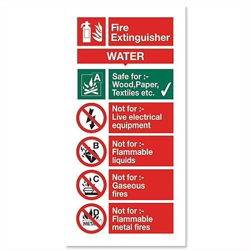 Stewart Superior Sign Water Fire-Extinguisher W100xH200mm Self-Adhesive Vinyl