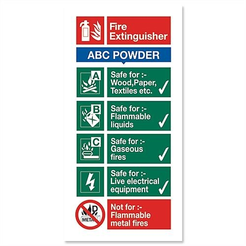 Stewart Superior Sign ABC Dry Powder Fire Extinguisher W100xH200mm Self-adhesive Vinyl