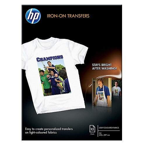 Hp c6050a iron on t shirt transfers a4 170gsm pack 12 for Avery t shirt transfer paper for laser printers
