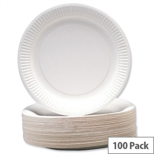 Disposable Recyclable Paper Plates 9inch White (Pack 100) 0511041