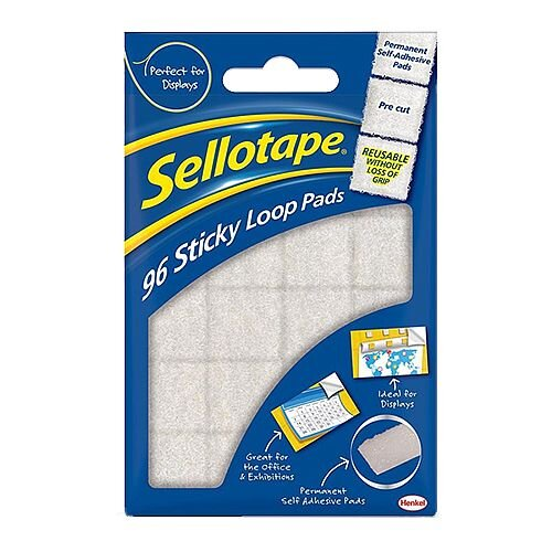 Sellotape Sticky Velcro Loop Pads 96 Pads 20 x 20mm White
