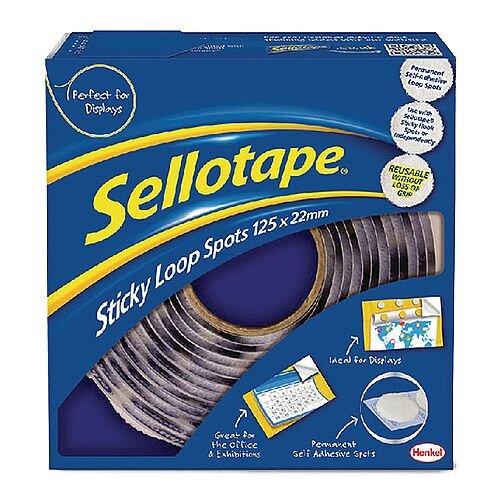 Sellotape Sticky Loop Spots Spot Size 22mm Roll of 125 Spots White Ref 144518