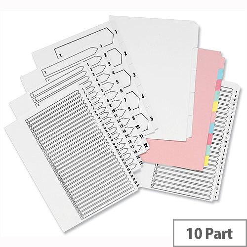 Concord Unpunched 10 Part Index Assorted A4 Subject Dividers Pack 10