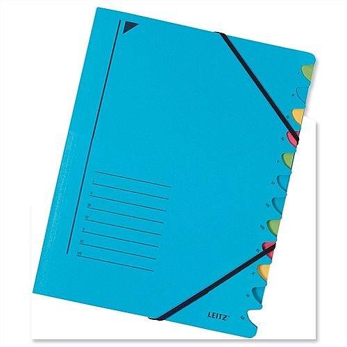 Leitz Elasticated File 12 Part Blue 3912-35 Pack 5
