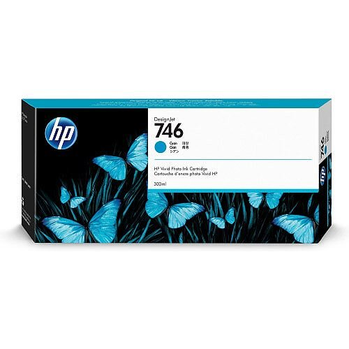 HP 746 - 300 ml - cyan - original - DesignJet - ink cartridge - for DesignJet Z6 PostScript, Z6dr PostScript, Z9+ PostScript, Z9+dr PostScript