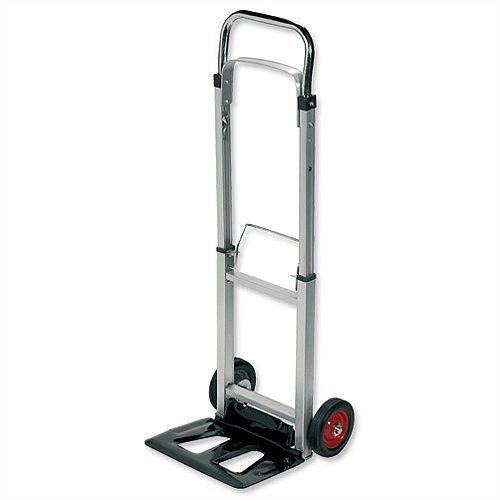 Lightweight Sack Trolley Telescopic RelX - Made From Lightweight Aluminium &Has Load Capacity Of 90KG. Folding Footplate &Extendable Handle For Easy Storage &Efficient Space Saving. Ideal For Use In Warehouses, Businesses, Homes &More.