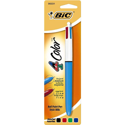 BIC 4 Colours Clip-On Retractable Ballpoint Pen – 1mm Tip 0.4 Width, Black/Blue/Red/Green, Smooth Sliders, Chunky Barrel, PVC &Refillable Ink (801867)