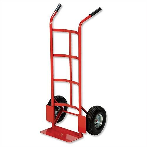 Hand Trolley Heavy-Duty Capacity 200kg Red Pneumatic Wheels Relx - Red In Colour, Black Handle Grips For Easier Use, Footplate For Easier Loading &Concave Frame. Ideal For Warehouses, Businesses, Homes &More.