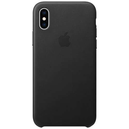 Apple - Black Leather back cover for mobile phone iPhone XS