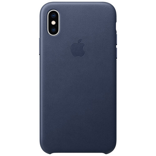 Apple - Leather back cover for mobile phone Apple iPhone XS in Midnight Blue