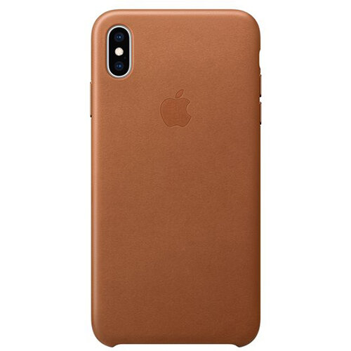 Apple - Leather back cover for mobile phone iPhone XS Max Saddle Brown
