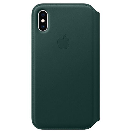 Apple Folio - Leather flip cover for mobile phone iPhone Xs in Forest Green