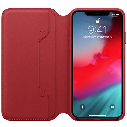 brand new 08798 b43cd Apple Folio RED - Leather flip cover for mobile phone iPhone XS Max