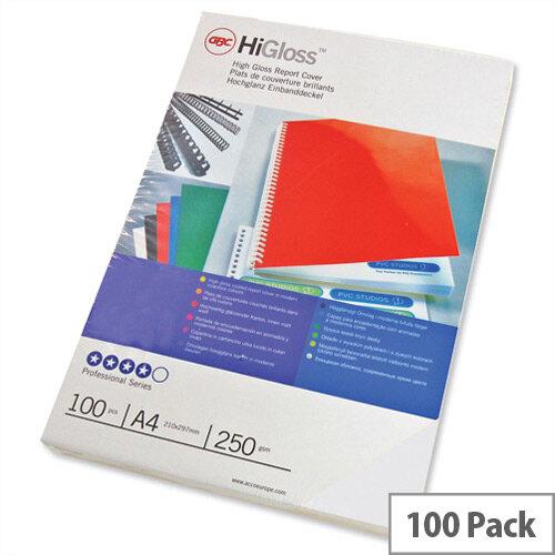 GBC Binding Covers Plain 250gsm A4 Gloss White CE020071 Pack 50x2