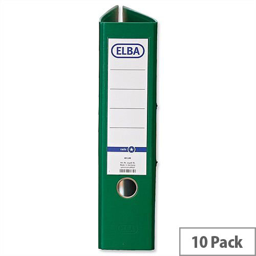 Elba Green A4 Board 70mm Spine Lever Arch File Pack of 10