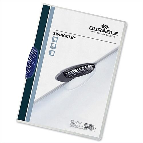 Durable A4 Swingclip Folder 30 Sheets Blue Pack 25