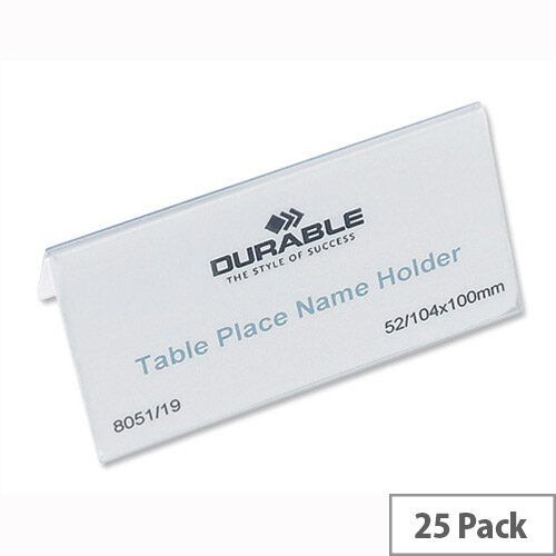 Durable Table Name Holder 52 x 100mm Pack 25