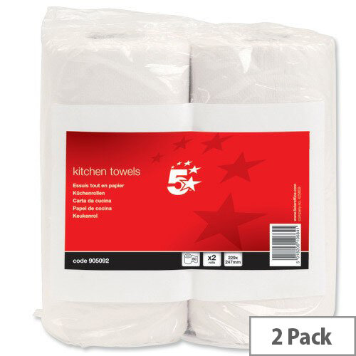 5 Star Kitchen Paper Towels Rolls 229x247mm Sheets 60 per Roll Pack 2 905092
