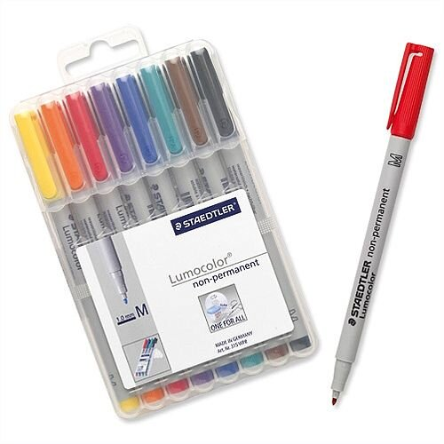 Staedtler 315 Lumocolor Non Permanent Pen 0.8mm Line Assorted 315WP8 Wallet 8