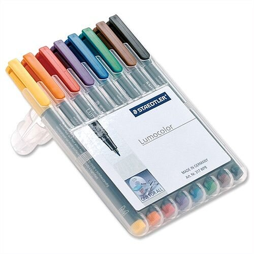 Staedtler 318 Lumocolor 0.6mm Pen Permanent Assorted Wallet 8
