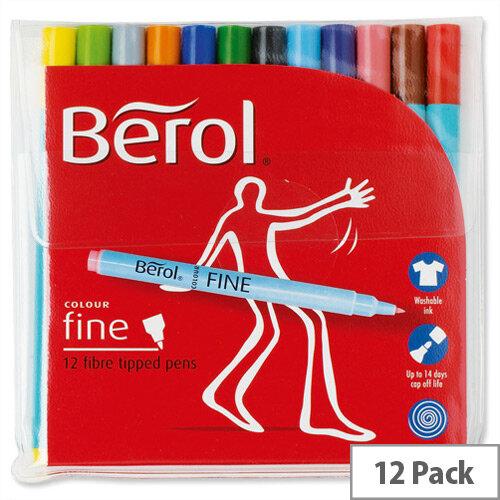 Berol Colour Fineliner Pen Assorted Washable Ink 0.6mm Line Wallet 12